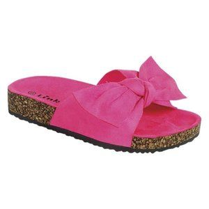 Other - Fushia pink bow slide footbed sandals